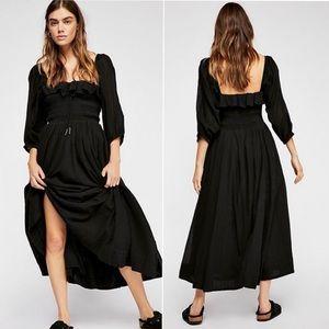 Free People Oasis Midi Dress In Black Medium